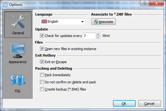 dbf file options