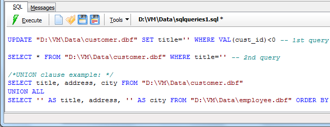 SQL query on DBF file